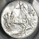 1912 PCGS MS 63 Italy 1 Lira Horses & Chariot Silver Mint State Coin (20032402C)