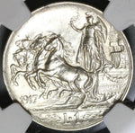 1917 NGC AU 58 Italy 1 Lira Horses & Chariot Silver Coin (19101002R)