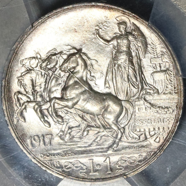1917 PCGS MS 63 Italy 1 Lira Horses & Chariot Silver Mint State Coin (20071901C)