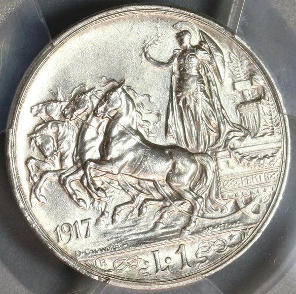 1917 PCGS MS 63 Italy 1 Lira Horses & Chariot Silver Coin (19090505D)