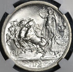 1914 NGC MS 64 Italy 2 Lire Horses & Chariot Mint State Silver Coin (20050902C)