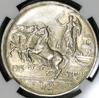 1915 NGC MS 62 Italy 2 Lire Horses & Chariot Silver Coin (19083105C)