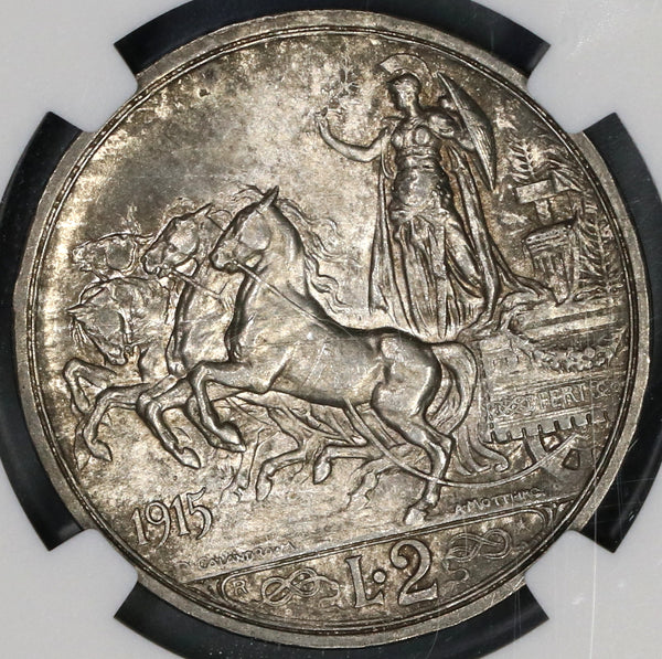 1915 NGC MS 64 Italy 2 Lire Horses & Chariot Silver Mint State Coin (19070803D)