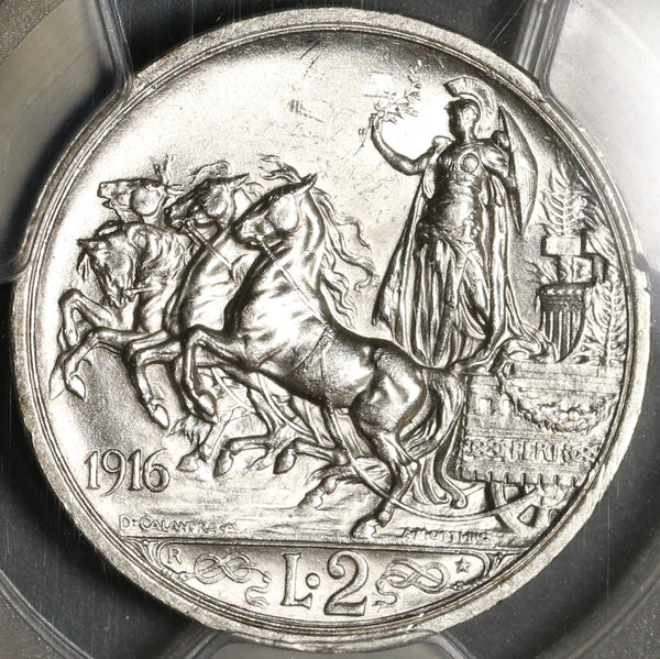 1916 PCGS MS 62 Italy 2 Lire Horses & Chariot Mint State Silver Coin (20041801C)