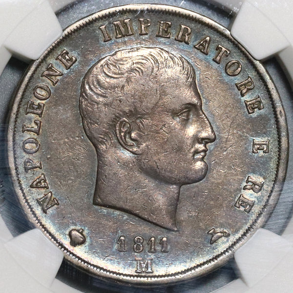 1811-M NGC XF 40 Italy 5 Lire Napoleon Kingdom Silver Milan Coin (20020103C)