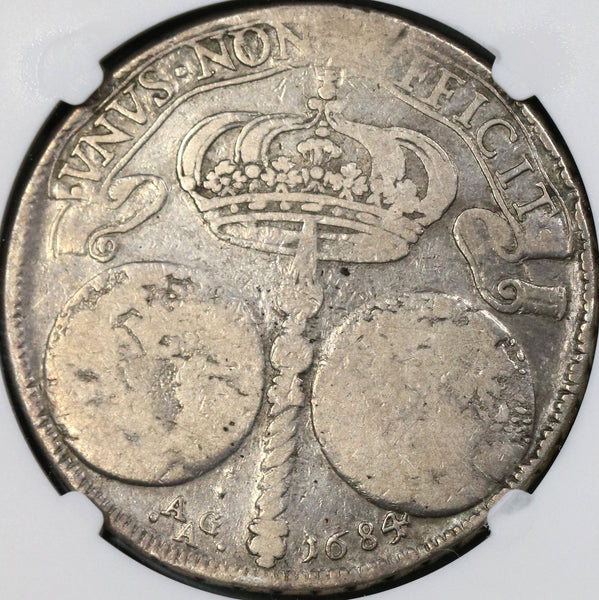 1684 NGC F 12 Naples & Sicily Ducato 2 Globes Italy State Crown Silver Coin (18061301C)