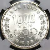 1964 NGC MS 65 Japan 1000 Yen Olympic Games Mt Fuji Silver Coin (19112405C)