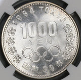 1964 NGC MS 66 Japan 1000 Yen Olympic Games Mt Fuji Silver Coin (19081803C)