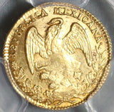 1836/4-Do PCGS MS 62+ Mexico Gold 1/2 Escudo Rare Durango Mint Coin (19091701C)