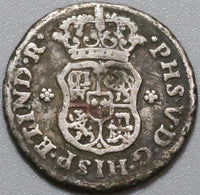 1744 Mexico 1/2 Real Pillars & Globes Colonial Spain Silver Coin (19102101R)