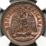 1896 NGC MS 65 Mexico 1 Centavo Copper Mint State Coin (20092702C)