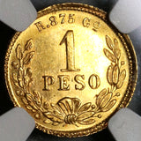 1890-Go NGC MS 63+ Mexico Gold 1 Peso Coin RARE Guanajuato Mint Only 2k Minted (20021605C)