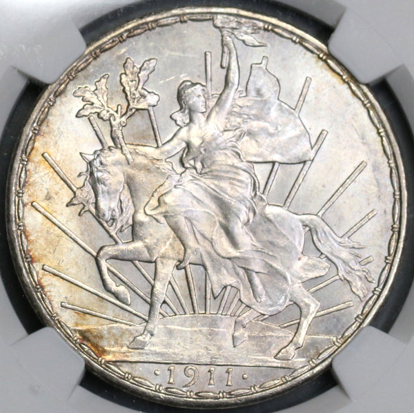 1911 NGC MS 63 Mexico Horse Peso Long Ray Silver Coin (19032401C)