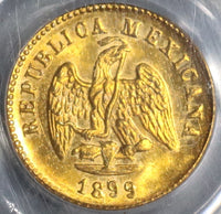 1899-Cn PCGS MS 63 Mexico Gold 1 Peso Culiacan Mint 2k Minted Coin (19060302C)