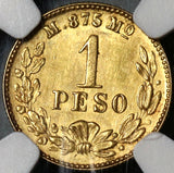 1905-Mo NGC MS 63 Mexico Gold 1 Peso Coin 3429 Minted (19072501D)