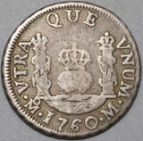 1760 Mexico 1 Real Spain Pillars Colonial Charles III Silver Coin (20070101C)