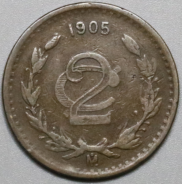 1905-Mo Mexico 2 Centavos Very Fine Scarce Key Date Coin (20011802R)