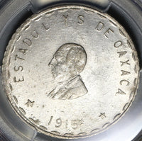 1915 PCGS MS 63 Oaxaca 2 Pesos Mexico Revolution Silver 7th Bust Coin POP 3/1 (20112801C)