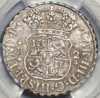 1760 PCGS XF 45 Mexico 2 Reales Chales III Pillars Globes Silver Coin (20081302C)