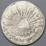 1856-Zs Mexico 2 Reales VF Zacatecas Cap & Rays Silver Coin (20051905R)