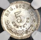 1889-Ho NGC MS 64 Mexico 5 Centavos Hermosillo Mint State Silver Coin 67K minted (19102402C)