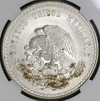 1947 NGC MS 66 Mexico 5 Pesos Cuahtemoc Aztec Mint State Silver Coin (19080901C)