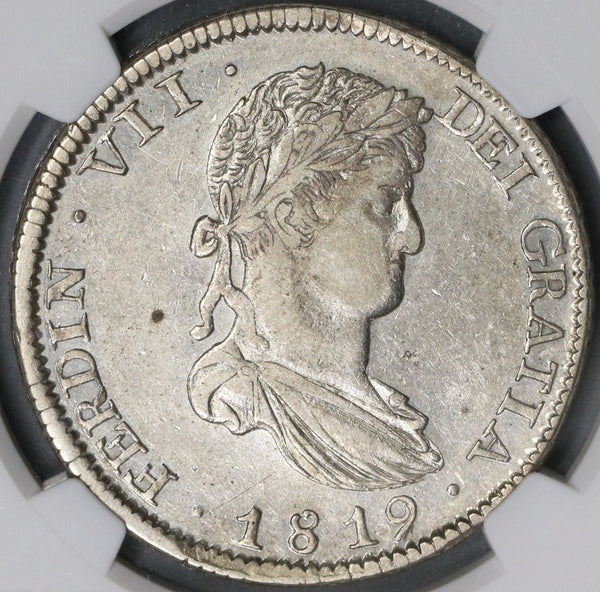 1819-Zs NGC AU 58 War Independence Mexico 8 Reales Coin POP 2/2 (18111402C)