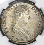 1821-Zs NGC XF 45 Mexico War Independence 8 Reales Silver Coin (19020601C)