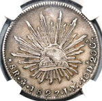 1827-Mo NGC AU 53 Mexico 8 Reales Almost Uncirculated Silver Coin (21040301C)