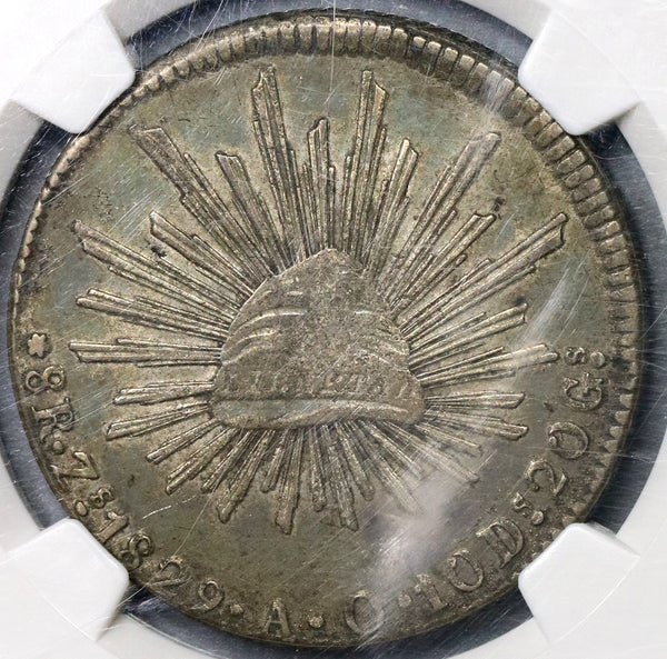 1829-Zs NGC AU 50 Mexico 8 Reales Silver Coin POP 1/5 (18111401C)