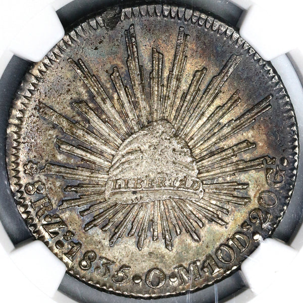 1835-Zs NGC MS 62 Mexico 8 Reales Rare Grade Mint State Zacatecas Silver Coin (19072603C)