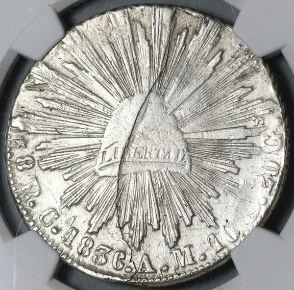 1836-Ca NGC XF Det Mexico 8 Reales Chihuahua Mint Silver Rare Coin (21020603C)