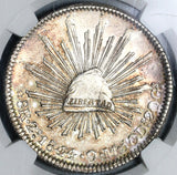 1844-Zs NGC UNC Det Mexico 8 Reales Scarce Cap & Rays Silver Coin (19110401C)
