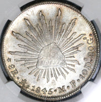 1845-Mo NGC MS 64 Mexico 8 Reales Mint State Silver Coin (20021102C)