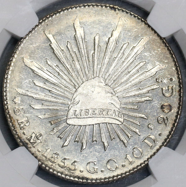 1855-Mo NGC MS 64 Mexico 8 Reales Silver Coin POP 4/1 (19031701C)