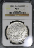 1855-Zs OM NGC AU 55 Mexico 8 Reales Silver Coin POP 2/3 (19080201C)