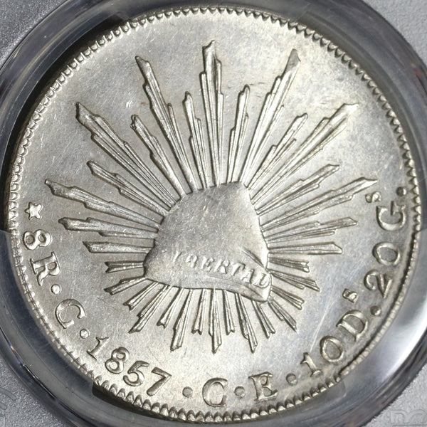 1857-C PCGS AU Det Mexico Silver 8 Reales Culiacan Mint Scarce Coin (20101704C)