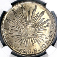 1862-C NGC MS 63 MEXICO 8 Reales Culiacan Mint Scarce Silver Coin POP 3/0 (18072301C)