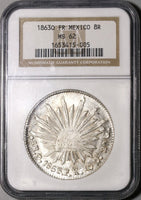 1863-O NGC MS 62 Mexico 8 Reales Oaxaca Mint Scarce Silver Dollar Coin (20070401C)