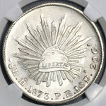 1873-Ho NGC MS 62 Mexico 8 Reales Rare Hermosillo Mint Silver Coin (19010401C)