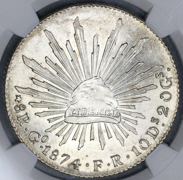 1874-Go NGC MS 62 Mexico 8 Reales Mint State Flashy Mint State Silver Coin (19060902C)