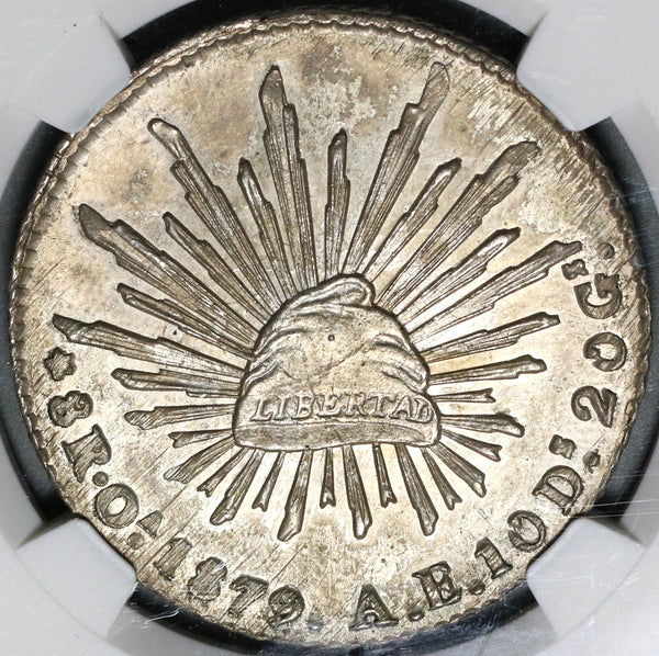 1879-Oa NGC MS 62 Mexico 8 Reales Oaxaca Mint Scarce Silver Coin (20081901C)