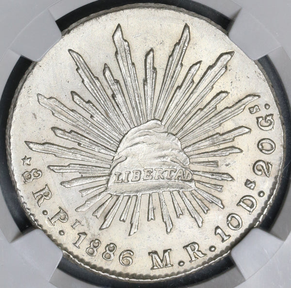 1886-Pi NGC MS 62 Mexico 8 Reales Potosi Mint State Silver Coin (19040902C)