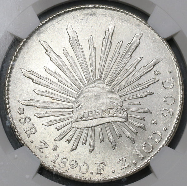 1890-Zs NGC MS 63 Mexico 8 Reales Mint State Lustrous Silver Coin (19070601C)