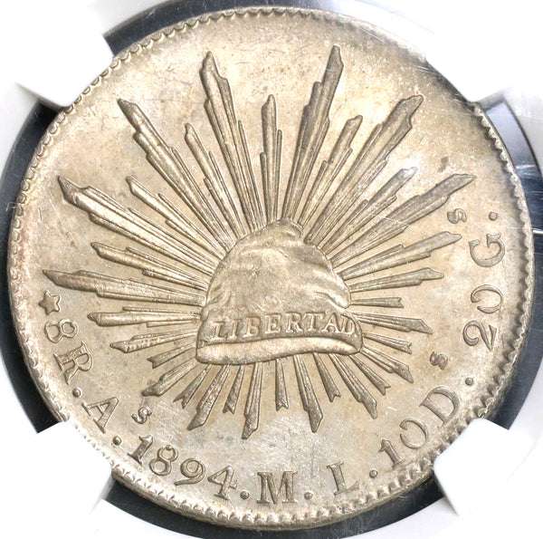 1894-As NGC MS 62 Mexico 8 Reales Coin Scarce Alamos Silver Coin (19061501C)
