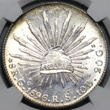 1896-Go NGC MS 63 Mexico 8 Reales Guanajuanto Mint State Silver Coin (20070203C)
