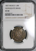 1857 NGC XF 40 Guanajuato Mexico State 1/8 Real Octavo Coin POP 1/0 (20070504C)