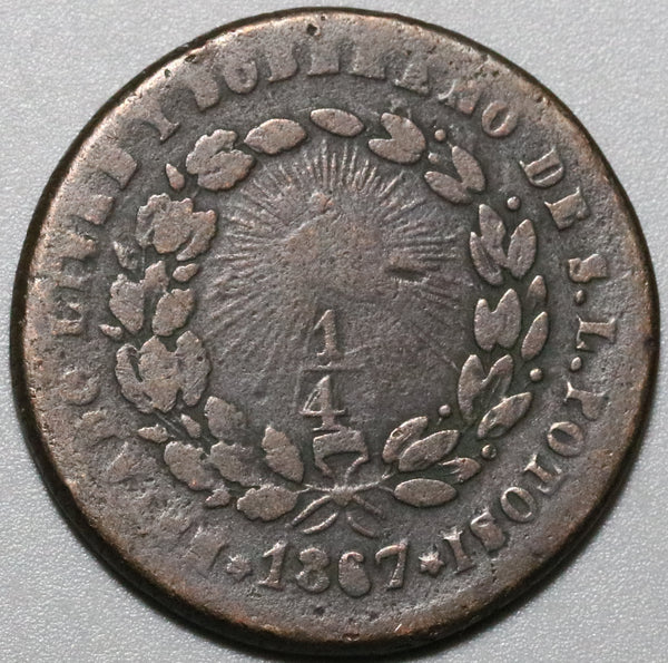 1867 Mexico 1/4 Real Una Quartilla Fine San Luis Potosi Coin (20060501R)