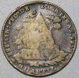 1858 Mexico 1/4 Real Una Quartilla AVF Zacatecas Coin (20052103R)