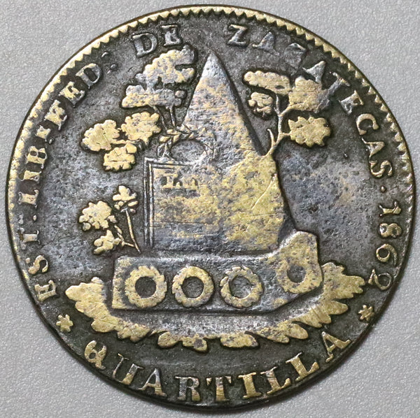 1862 Mexico 1/4 Real Una Quartilla VF Zacatecas  Coin (20052104R)